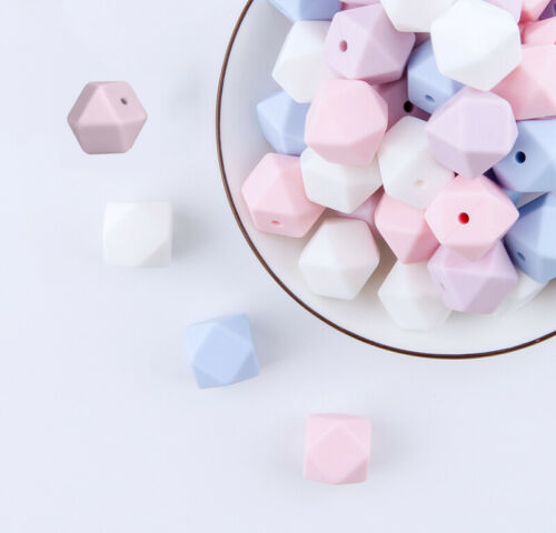 Silicone Hexagon Beads Silicone Teether DIY Chewable Teething Necklace UK Tested