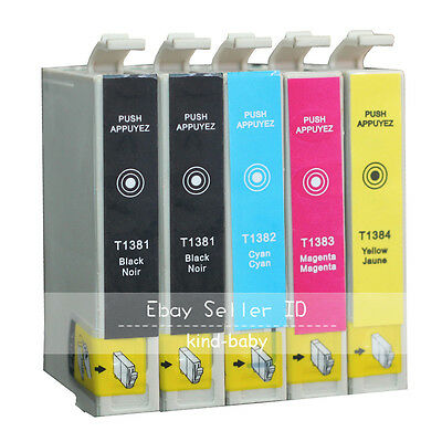 5x Epson T138 T1381 Compatible Ink Cartridges for WorkForce 845 WF3520 WF3530