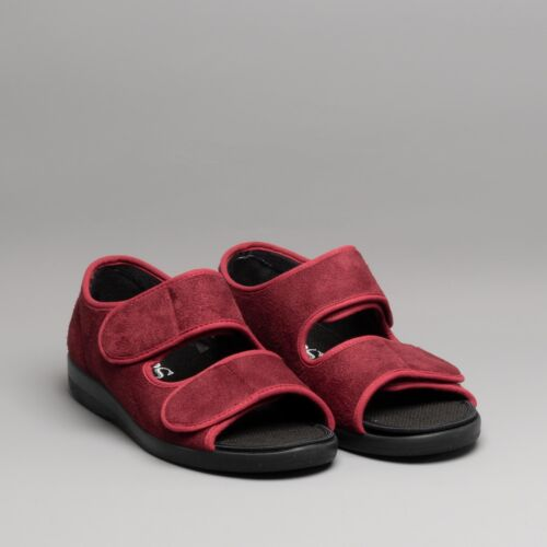 GBS Med BROMPTON Unisex Medical Non-Slip Touch Close Open Toe Slippers Burgundy