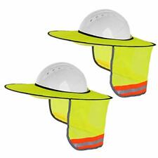 2 Hat Sun Shield Neck Shade For Hardhats With Strips 2 Pack Yellow High Visibility