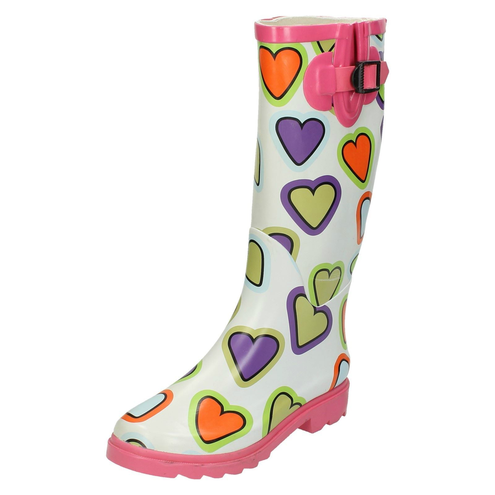 Heart AM1- Ladies Spoton Pink/White/Mul<wbr/>ti Heart Design Rubber Wellington Boots!