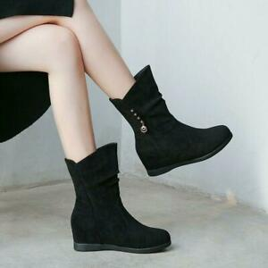Fashion-Women-Slouch-Side-Zip-Round-Toe-Hidden-Wedge-Heel-Suede-Ankle-Boots-Chic