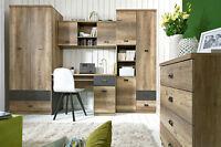 Malcolm Office Set Kids Room Desk Cabinet Wardrobe Shelf Storage Oak Grey