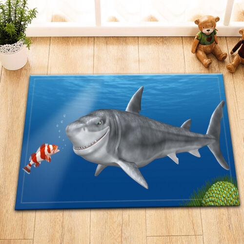 Shark Smiling To Fish Ocean Shower Curtain Bathroom Waterproof Fabric Hooks Set