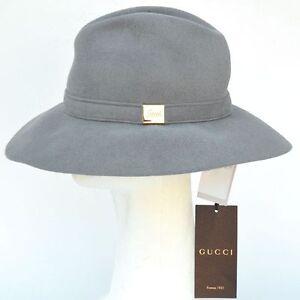 9eeac9104685a6 Details about GUCCI New sz M Authentic Designer Womens Rabbit Fur Wide Brim  Hat gray
