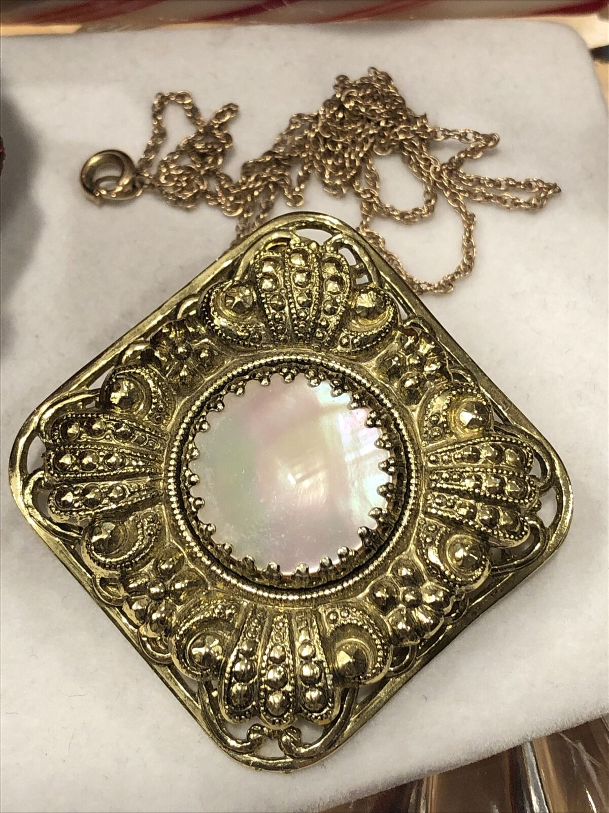 Antique Style Vintage Ornate Mother Of Pearl Gold… - image 2