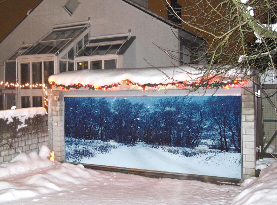 3D Forêt Enneigée Garage Door Murals Wall Print Decal Wall Deco AJ WALLPAPER FR