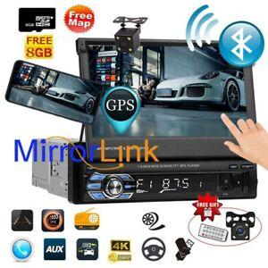 """AUTORADIO MIT NAVIGATION GPS BLUETOOTH 7"""" TOUCHSCREEN Rückfahrkamera MP3 1DIN"""