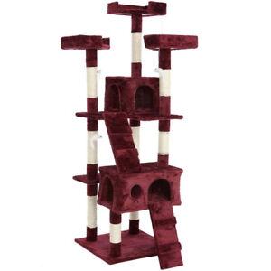 kratzb ume f r katzen baum sisal park spiele katze zieht kratzer 170cm rot vin ebay. Black Bedroom Furniture Sets. Home Design Ideas