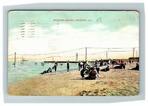 Bathing-Beach-Chicago-IL-c1908-Postcard-Z9