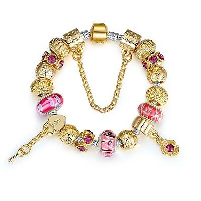 Fashion Style Glass Bead Bracelet With Gold Plated For Women Bangle Jewelry Gift