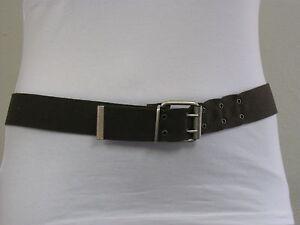 NEU-Basic-Stoff-Guertel-oliv-braun-silber-Schnalle-Uberlang-125-o-135-Breite-4cm
