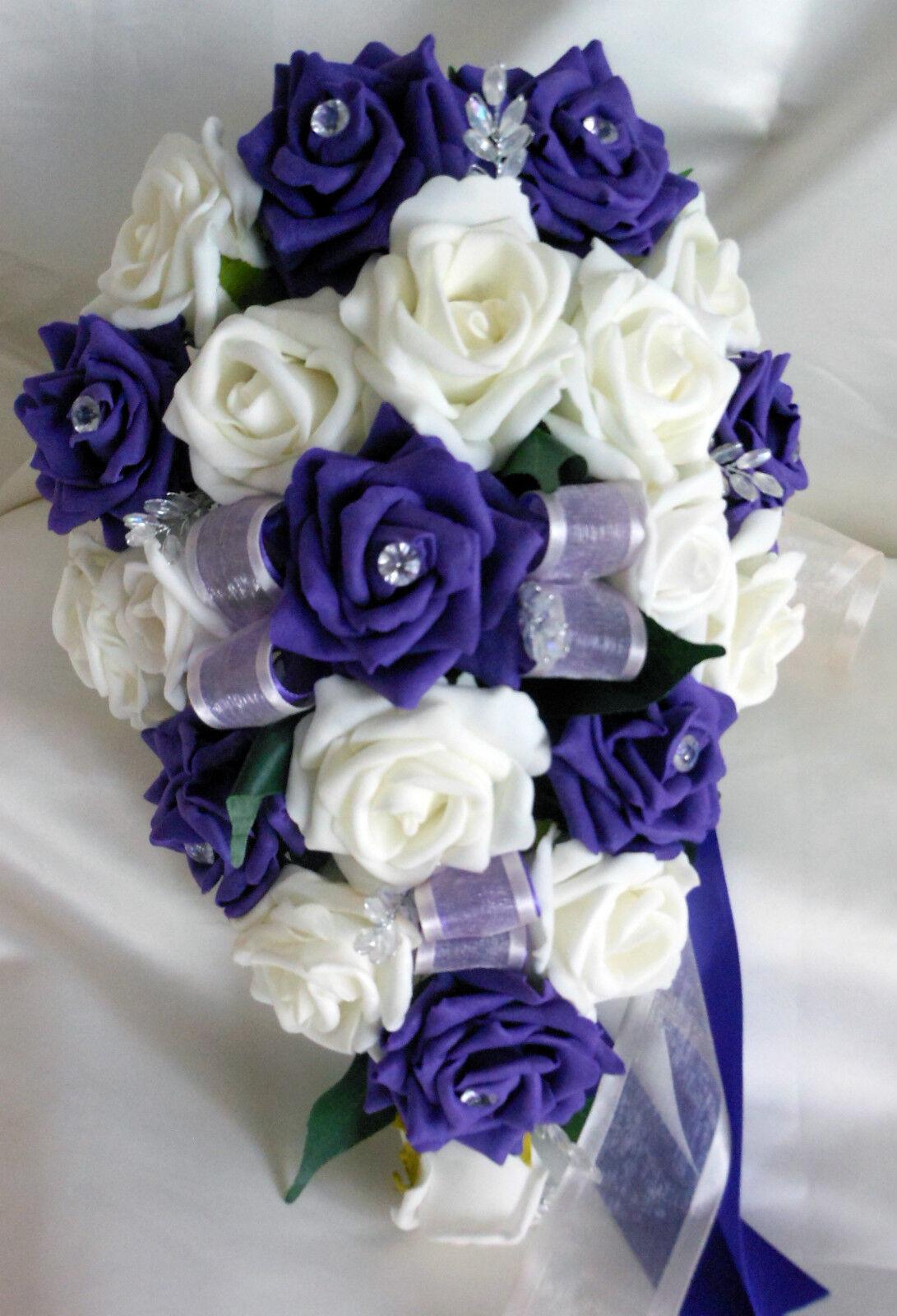 Brides Teardrop Bouquet, wedding FIORI FIORI FIORI Avorio & viola rosas con diamante e7c1bc