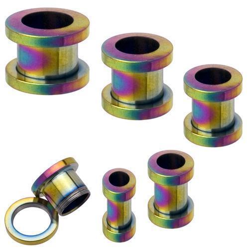 2 Titanium Screw on Tunnels Ear Plugs Rainbow 8g 3mm