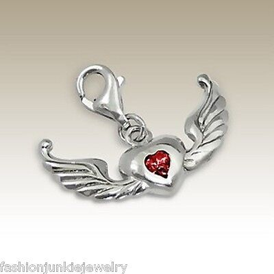 925 Sterling Silver Heart with Wings Charm with Lobster Claw *NEW* Angel Wing