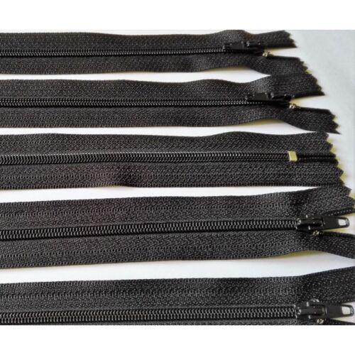 5 FERMETURES eclair FINE POLYESTERE 30 cm COLORIS NOIR pochette coussin jupe REF