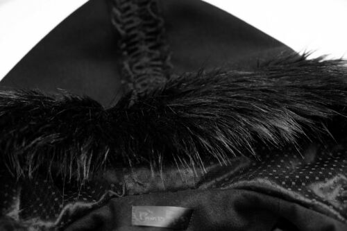 Gothic lolita Black hooded winter coat with fur trim Pyon Pyon Punk Rave LY-056