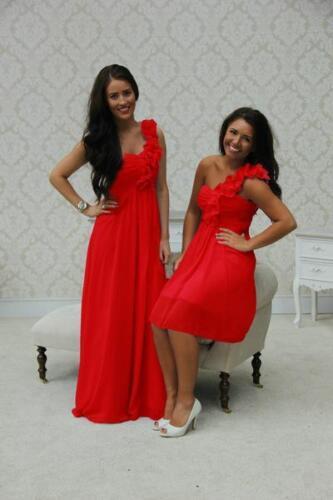 1 Shoulder Bridesmaid Dress Chiffon Maxi Long Short Ballgown Evening Ladies Prom