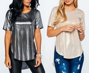 New women ladies metallic look silver gold dipped hem top for Silver metallic shirt women s