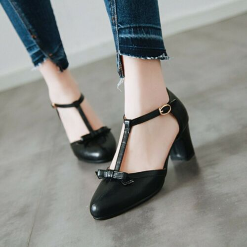 US4.5-10.5 Women/'s Block Heels Ankle Strap Buckle Casual Party Shoes Size New