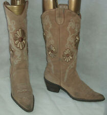 Dockers tan suede leather calf high cowboy cowgirl boots EU 39 UK 6 Festival