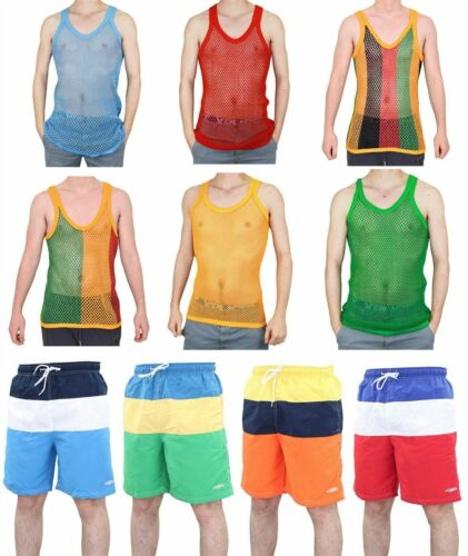 2XL Mens String Vest Swim Shorts Set Casual Summer Fishnet Sleeveless Beach M