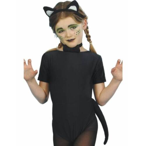 Girls Child Instant CAT SET Ears Tail Bow Tie Kids Halloween Fancy Dress