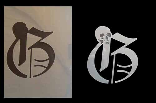 Skull Initiale G Airbrush Schablone Step by Step ABC I007 Schädel Stencil