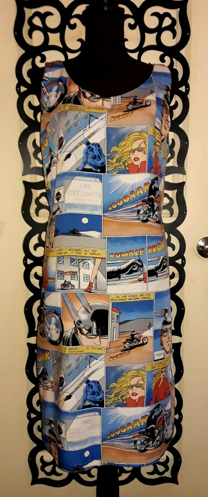 RARE Harley Davidson Motorcycles Comic Graphic Graphic Graphic Print Dress Sz Large Super Cute   5b8a70