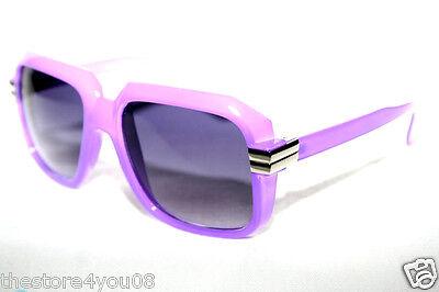 Men's Women Vintage 607 Gazelle Sunglasses Run DMC Old School Purple 80s Hip Hop