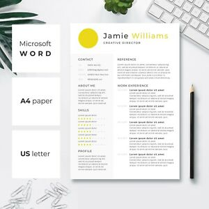 Details about Creative Resume Template | CV Template | Cover Letter |  Yellow Circle