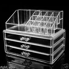 Makeup Cosmetics Jewelry Organizer Clear Acrylic 3 Drawers Display Box Storage