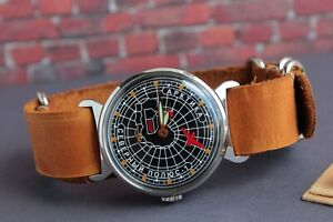 Pobeda-Vintage-men-039-s-watch-Mechanical-Nord-Pole-New-Leather-Strap