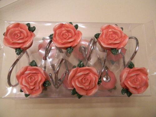 CREATIVE BATH 12 Shower Curtain Hooks Floral Rose Sabby Chic Roses NIB