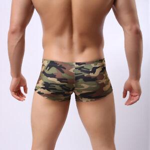 Unterwaesche-Boxershorts-Shorts-Atmungsaktiv-Camouflage-Slips-Badehose-Boyshorts