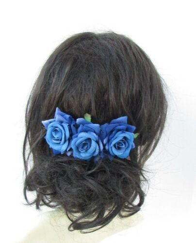 Royal Blue Rose Flower Hair Comb Bridesmaid Fascinator Bridal Wedding 1950s 5015