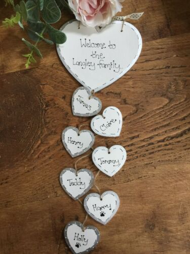 Handmade Personalised Plaque OUR FAMILY  Hearts Gift Sign Present Chic shabby