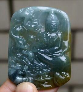 Certified Natural Grade A Blue Water Jadeite Jade Kwnayin Guanyin Dragon Pendant