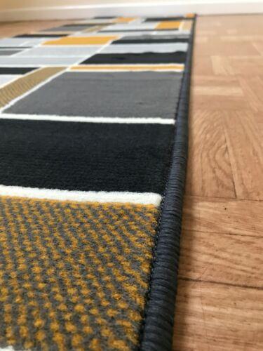 Ochre Gold Mustard Rug Mat Hallway Runner Large Grey Extra Long Floor Carpet UK
