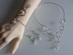Parure collier bracelet Ivoire Blanc Argenté robe Mariée Mariage ... 9bb6cae866ae