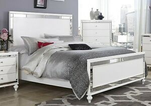 Image Is Loading Glitzy 4 Pc White Mirrored King Bed N S