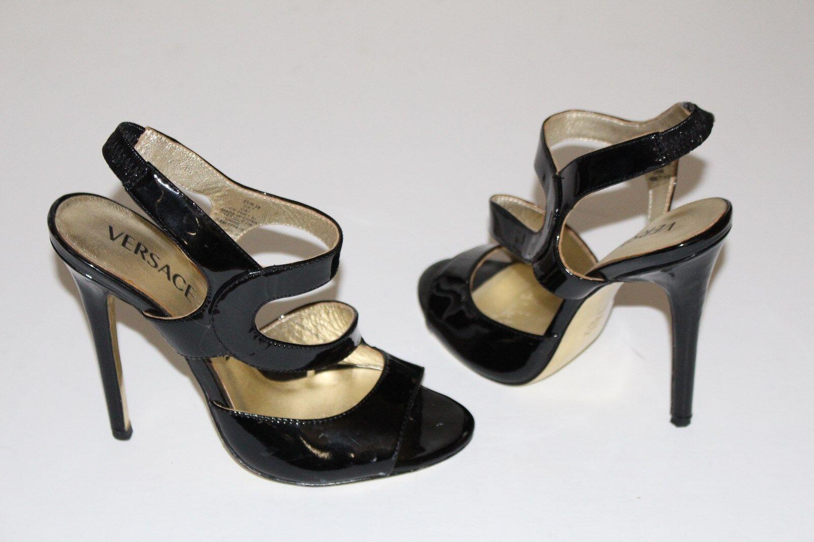 Versace for H&M 7 Negro Patente Sandalias de Tiras De Tacones De Tiras 4.5  oro suelas de cuero 38 06f3b6