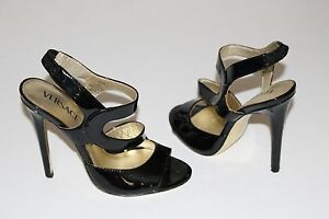314995c53f19 Versace for H M 7 Black Patent Strappy Sandals 4.5