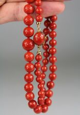 Rare Antique Pure Red Natural Blood Coral Chinese Necklace 53g ! Gold 14K - 19th