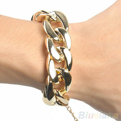 Fashion Womens Gothic Gold Black Silver Link Chain Cuff Gorgeous Cool Bracelet