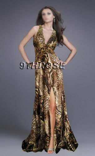 REAL STUNNER BEADED FORMAL//EVENING//PROM WITH SPLIT; LEOPARD PRINTS AU18//US16