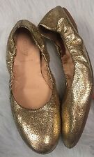J Crew Women's Emma Crackled Gold Leather Ballet Flats Size 8 Made In Italy