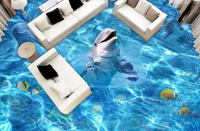 3D Dolphins Happy  63 Floor WallPaper Murals Wall Print 5D AJ WALLPAPER UK Lemon