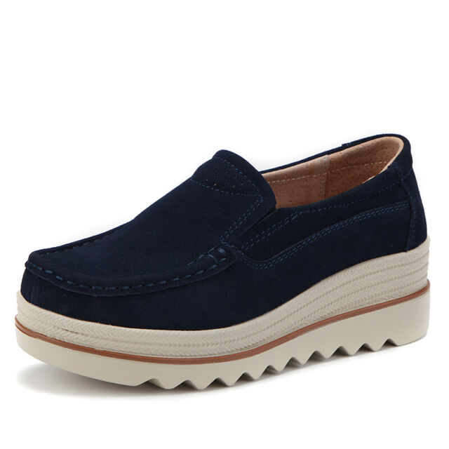 7e5313f7077 Women Platform Slip On Loafers Comfort Suede Moccasins Wide Low Top Wedge  Shoes