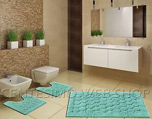 Arredo Verde Acqua : Parure bagno pezzi verde acqua cotone tappeto tre made italy